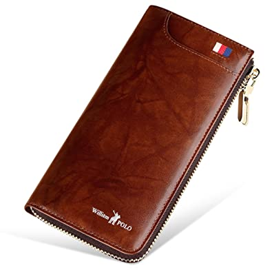 5012017e4347 WILLIAMPOLO 長財布 メンズ 本革 多機能 レディース 人気 ブランド 大容量 185150(ブラウン