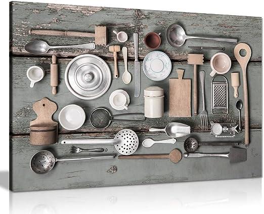 Amazon Com Rustic Art Vintage Kitchen Utensils Canvas Wall Art