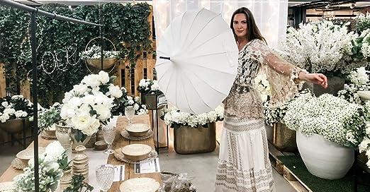 VON LILIENFELD Ombrello Matrimonio Parasole Donna Pagoda C/écile acquamarina metallizzato