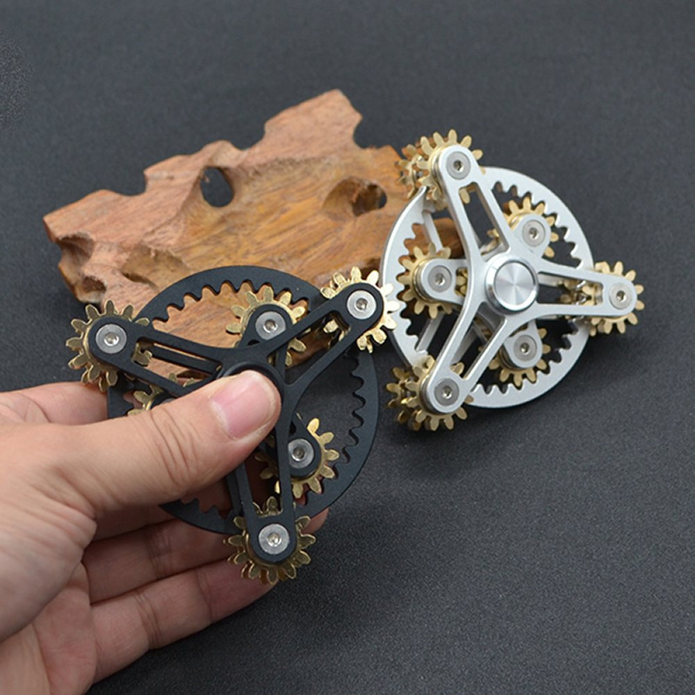 FREELOVE 9 Series Gear Pure Copper Brass Fidget Spinner Toy EDC Industrial Mechinery Disassemble R188 Silent Stainless Steel Bearing,3~5 minutes (7 Gear Wind Fire Wheel Black, 7 Gear Wind Fire Wheel) by FREELOVE (Image #4)