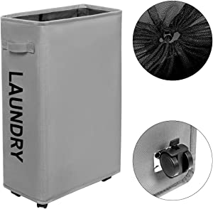 Chrislley Slim Rolling Laundry Hamper with Wheels Thin Laundry Hamper Narrow Clothes Hampers Tall Dirty Laundry Hamper Basket (Slim 22 Inches,Grey 2)