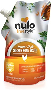 Nulo Freestyle Bone Broth for Dogs, Cats, Chicken Flavor, 20 fl oz Pouch - Tasty Pet Food Toppers with Turmeric - Nutritious Soup, Gravy - Premium Dog and Cat Food Toppings, Gravies & Sauces
