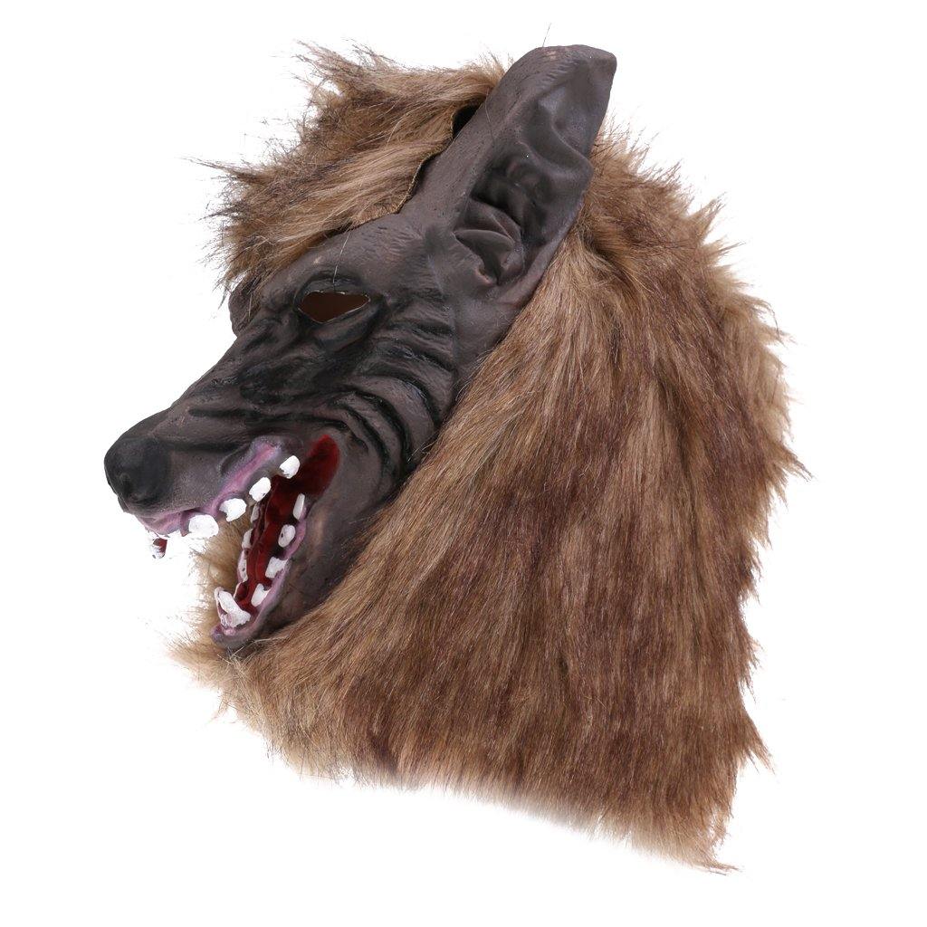 Jili Online Halloween Creepy Latex Full Head Overhead Animal Head Mask Howling Brown Wolf Masquerade Fancy Dress Costume Mask by Jili Online (Image #5)