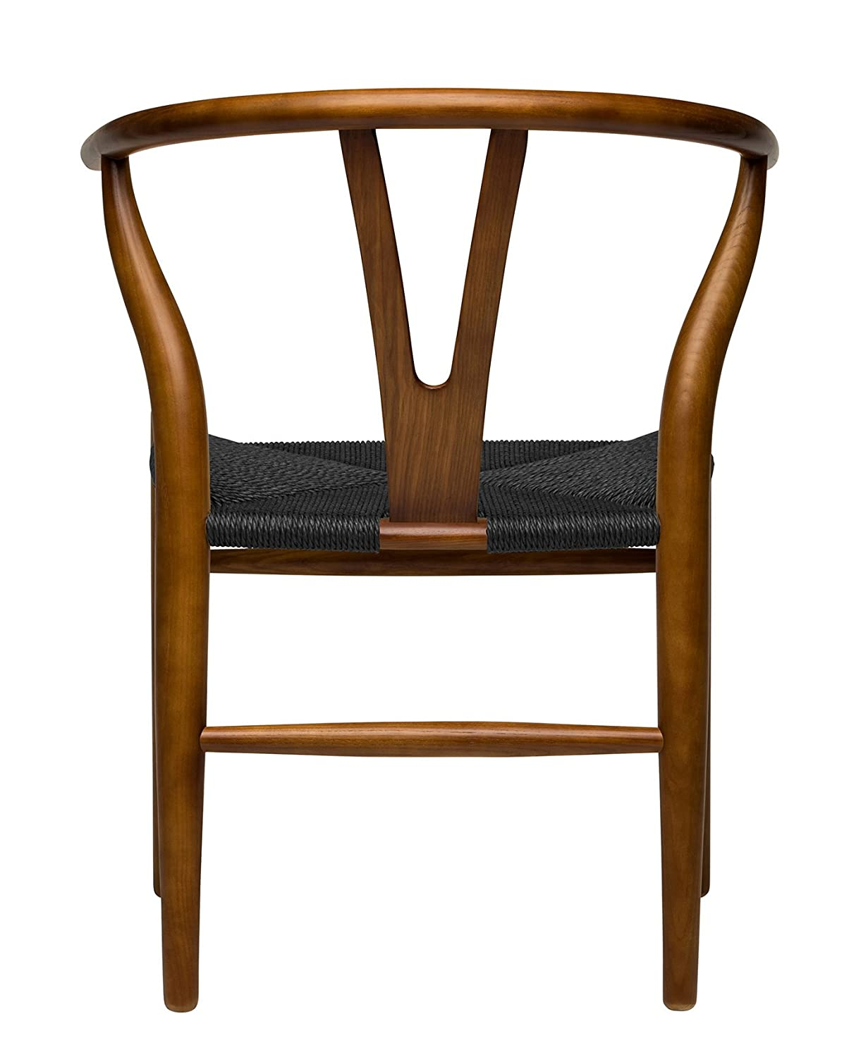 Amazon com hans wegner wishbone style woven seat chair walnut with black cord kitchen dining