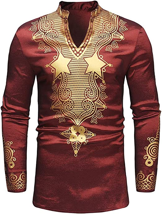 YaXuan Camisa de Hombre, Cuello de Soporte con Estampado de Viento Nacional Africano Jersey Largo con