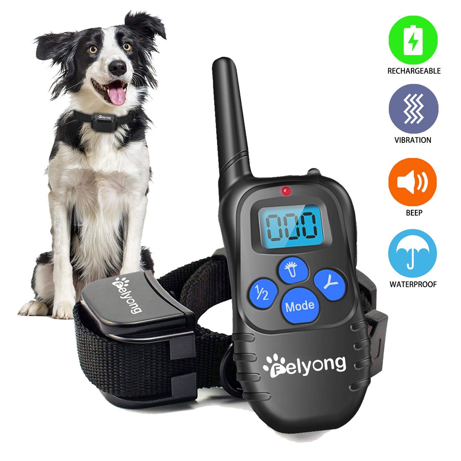 Felyong Dog Training Collar with Remote, Rechargeable Waterproof Dog Shock Collar with Beep Vibration Safety Shock Harmless Training Collars for Small Medium Large Dogs, 1000 Ft Range by Felyong