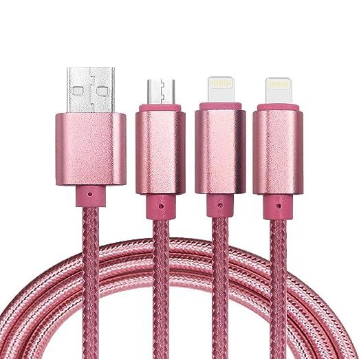 20 opinioni per Multi cavo USB, 3 in 1 Lightning & Micro USB nylon intrecciato cavo di ricarica