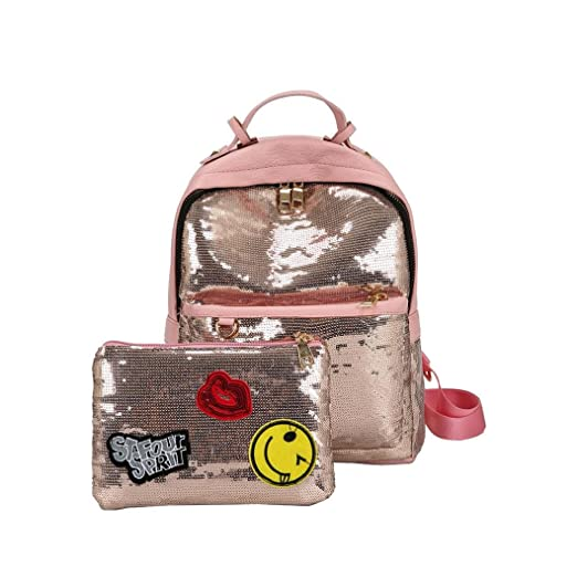 Amazon.com: Kingfansion Girl Backpack Fashion Gold Sequins Leisure Shopping Shoulder Bag School Travel Backpack Bag Set (Pink): Computers & Accessories