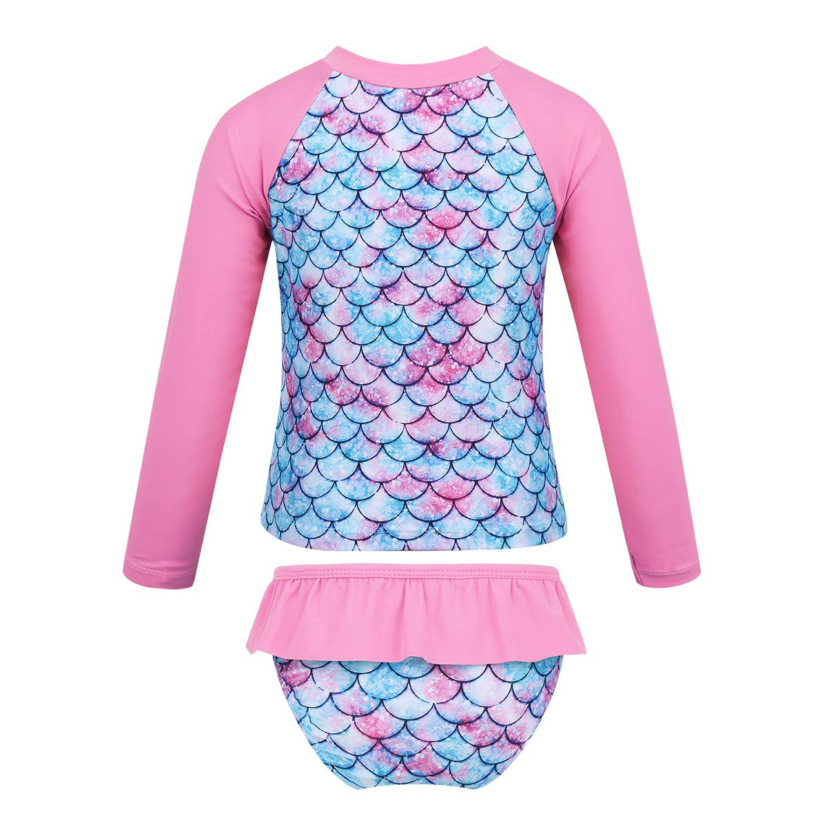 dPois Infant Baby Girls Long Sleeves One-Piece Floral Rash Guard Ruffles Swimsuit Swimwear with Back Zipper