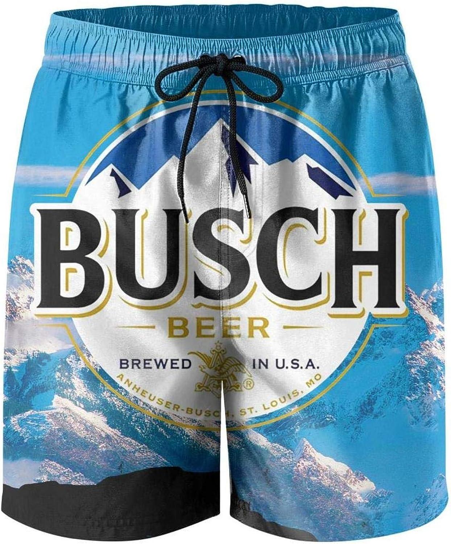 Busch-Light-Logo-Custom Breathable Beach Board Shorts Swim Trunks for Mens