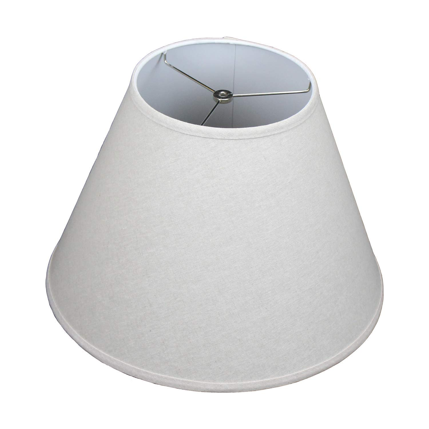 FenchelShades.com Lampshade 9'' Top Diameter x 18'' Bottom Diameter x 13'' Slant Height with Washer (Spider) Attachment for Lamps with a Harp (Couture Flax)