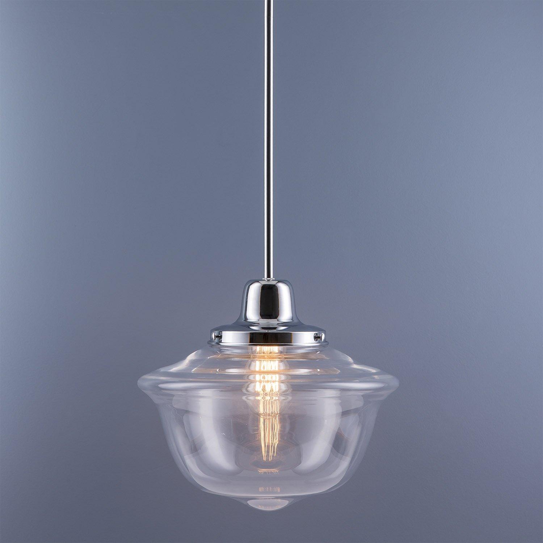 Lavagna LED Schoolhouse Pendant - Chrome w/Clear Glass Shade - Linea di Liara LL-P272-PC by Linea di Liara (Image #3)