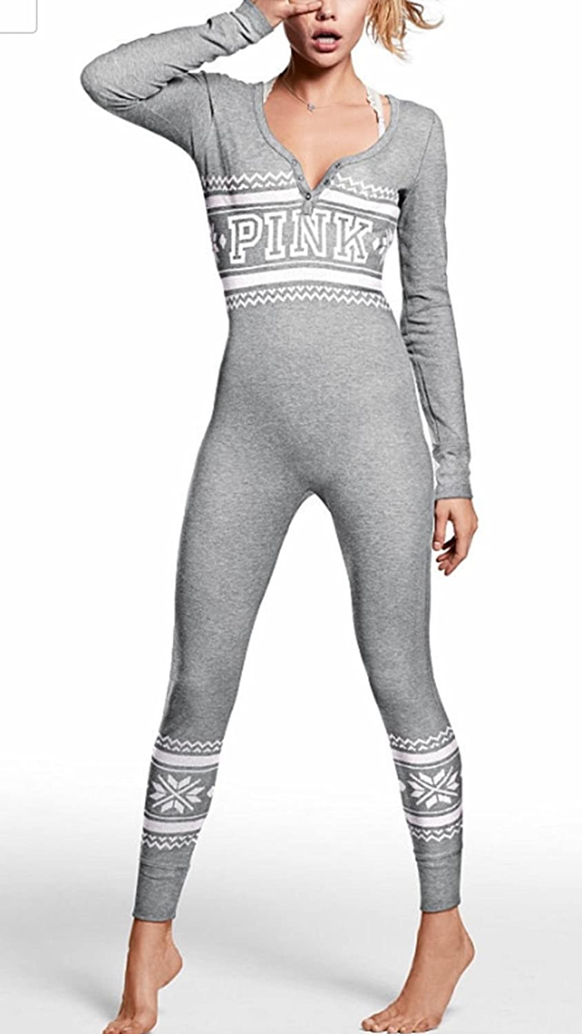 Victoria`s Secret PINK Onesie Pajamas Thermal Long Jane Heather Charcoal Small at Amazon Womens Clothing store: