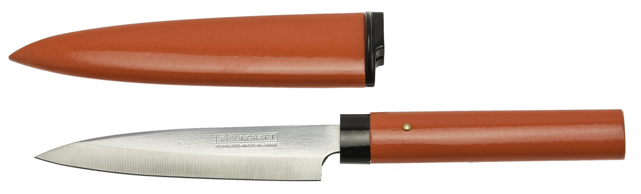 Kotobuki Fruit Knife with Wood Cover, Red