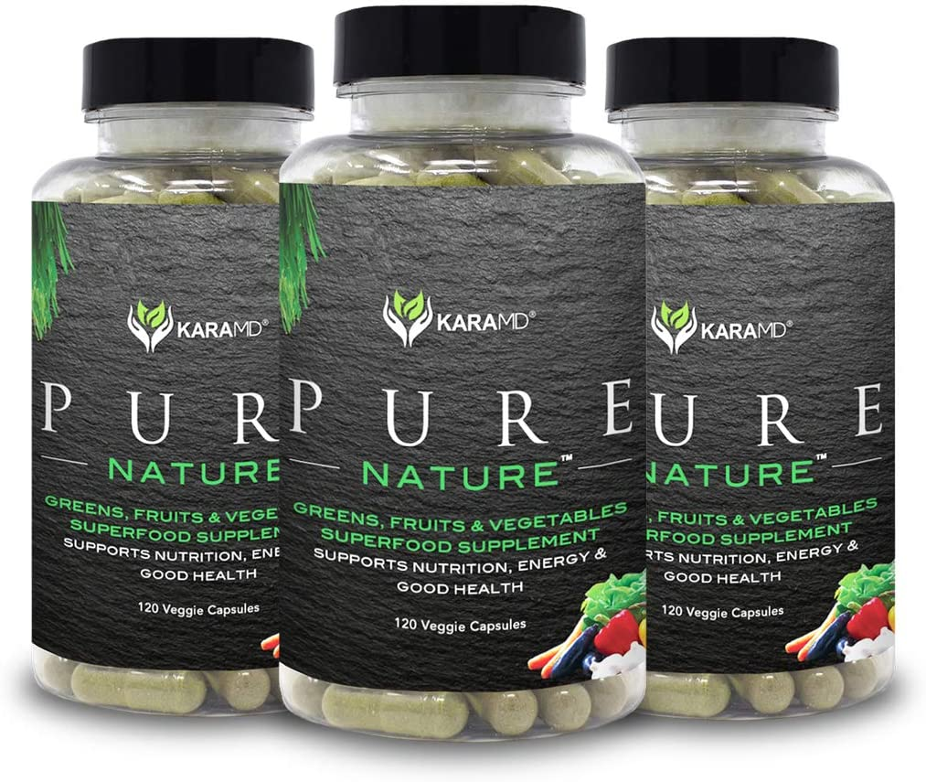 KaraMD Pure Nature | Dr Formulated Greens, Fruit & Vegetable Whole Food Health Supplement | Vitamins, Fiber & Antioxidant Superfood Nutrition | Natural Energy, Digestion & Immunity Boost, 3 Packs
