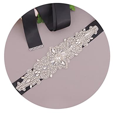52d9f8273e752 Azaleas Women s Crystal Beaded Sash Belts Wedding Belt Sashes for Wedding  (Black)