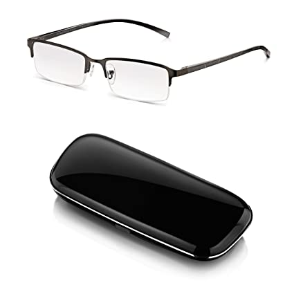 Gafas -Read Optics-Lentes de Lectura Hombre Vista Cansada + Duro Estuche: Gris Opaco Metalizado, Media Montura y Bisagras de Resorte. Transparentes ...