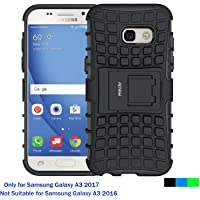Fetrim Custodia Galaxy A3 2017, cover supporto anti Case, TPU Plastica Bumper Rugged armatura ultra protezione Copertura Cassa Shell Caso per Apple samsung Galaxy A3 2017 - Nero