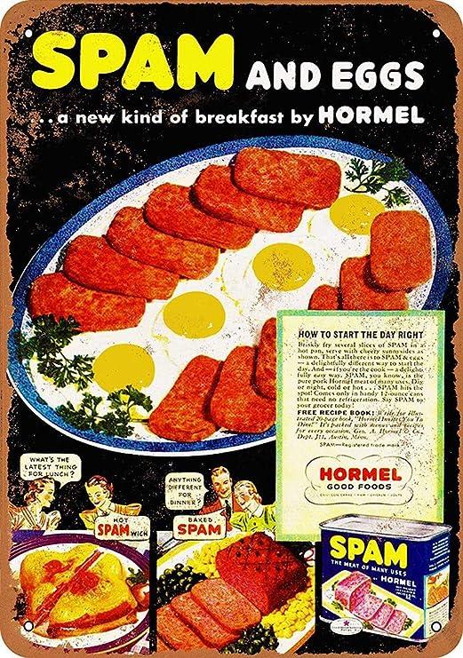 aoeiu Hormel Spam and Eggs Cartel de Metal Decoración de la Pared ...