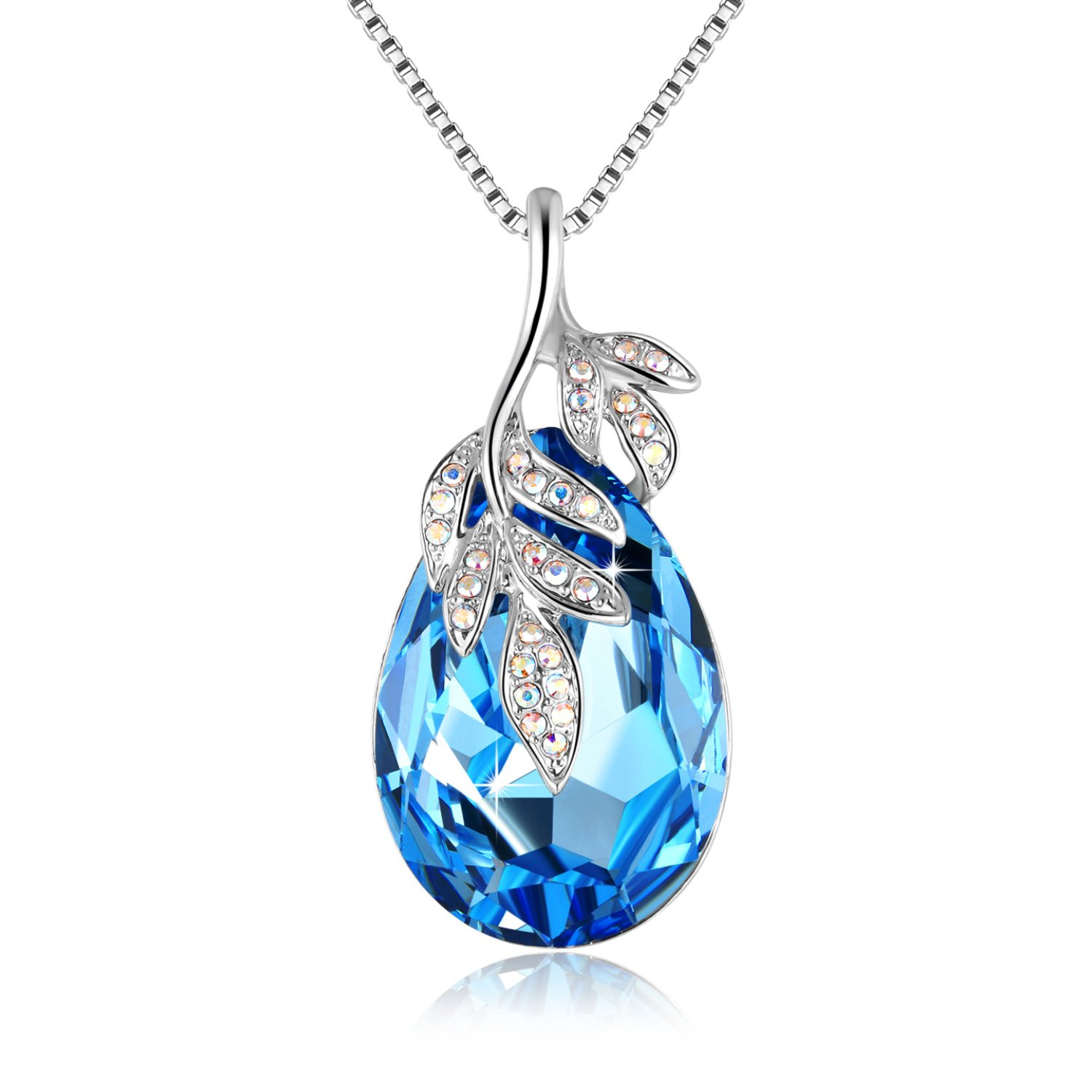 Women Blue Necklace Big Oval Swarovski Crystal with 5A Zircon Leaf Pendant Luxury Jewelry Gifts for Mom Daughter Girl Friend