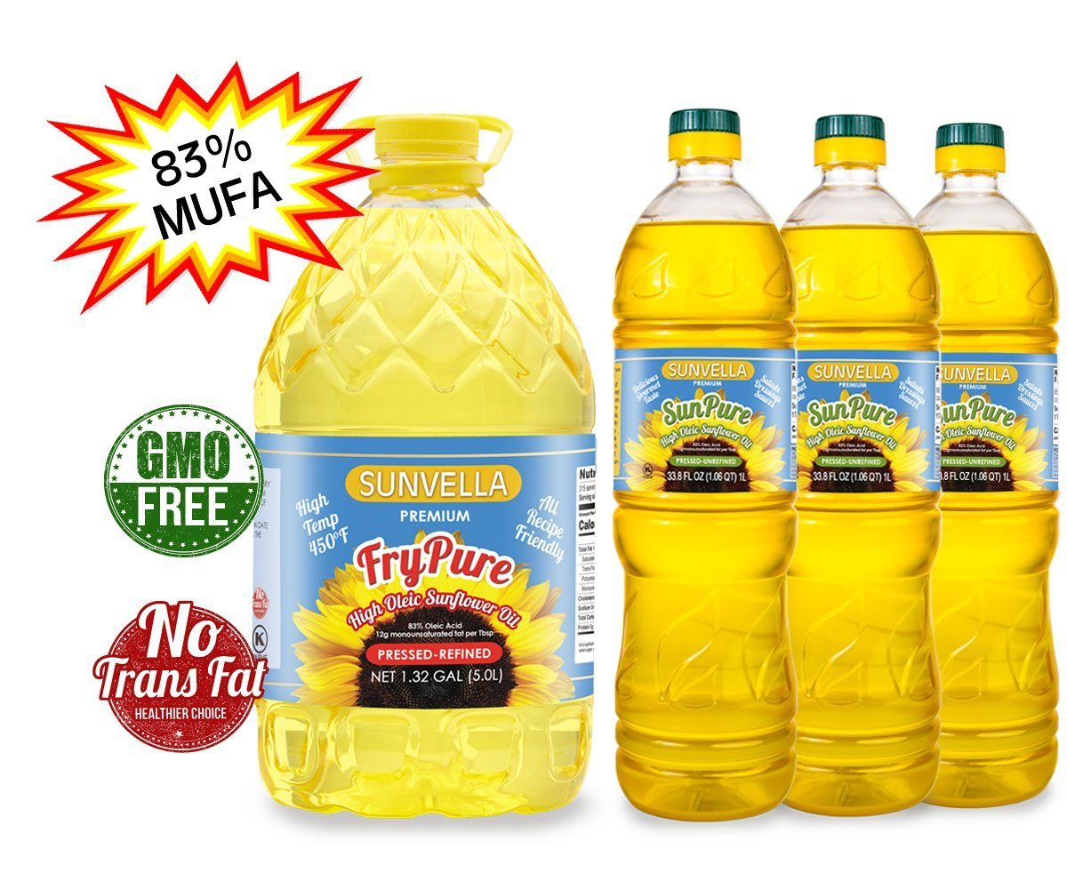 SUNVELLA High Oleic Sunflower Oil Variety Combo (1) FryPure 1.32 GAL + (3) SunPure 33.8 Fl Oz), 100% Pure, 83% MUFA, Non-GMO (Total 4 bottles) by SUNVELLA