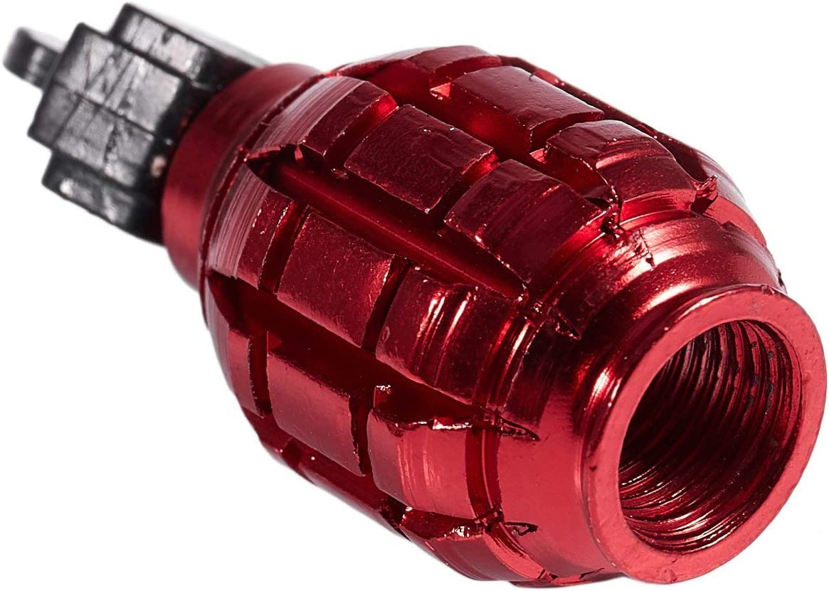voiture rouge VTT BMX Huante Lot de 2 bouchons de valve anti-poussi/ère en forme de grenade pour v/élo