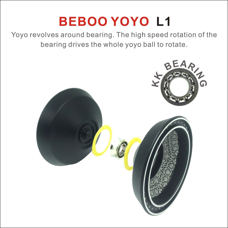 TPMDWX YOYO Professional Black Black Newest Design Black with Silver Acid Aluminum Alloy High Speed Professional Unresponsive Yoyo Balls,Ball Bearing Trick Yo-yo,Pro yoyo