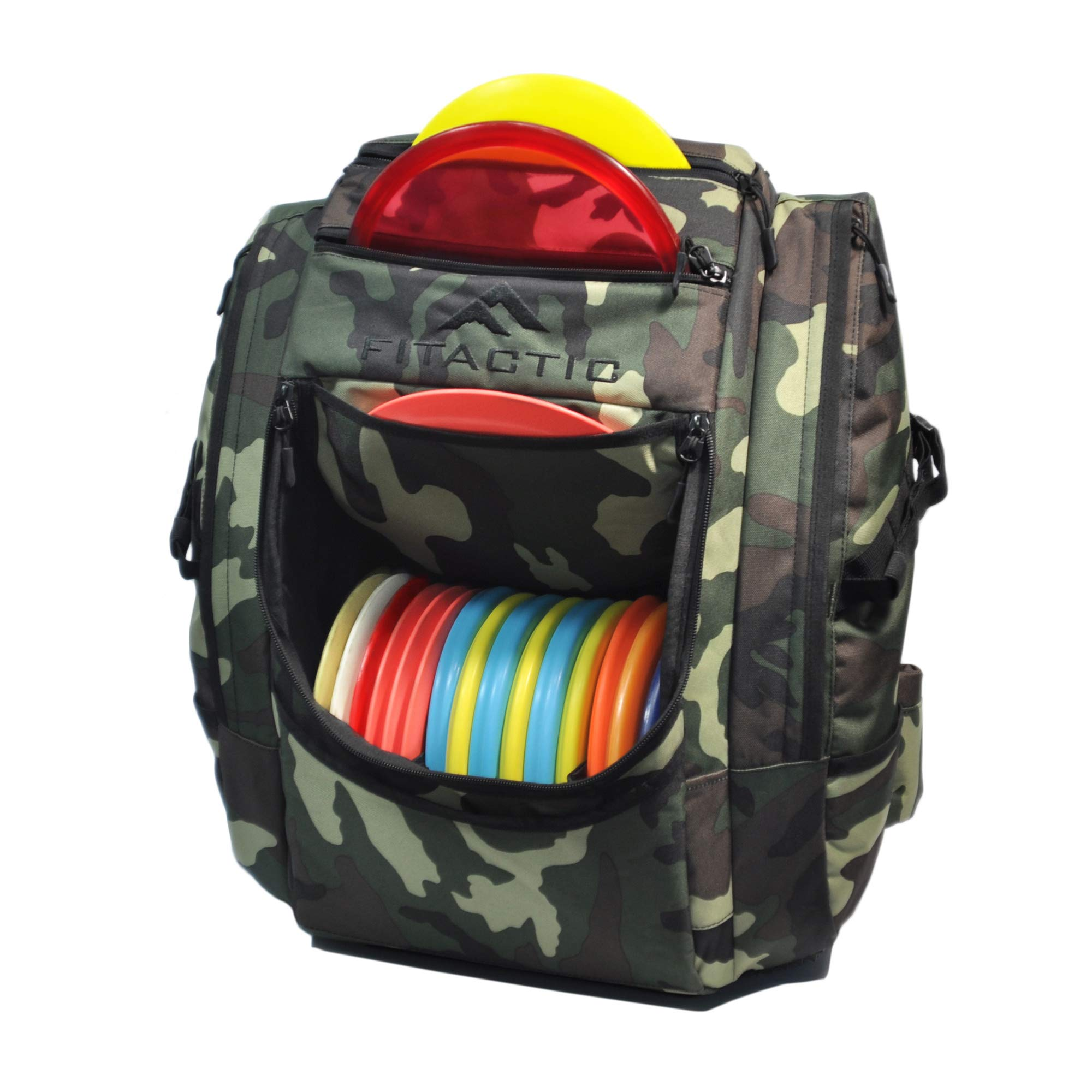 FITactic Luxury Frisbee Disc Golf Bag Backpack (Capacity: 25-30 Discs, Woodland Camouflage) by FITactic