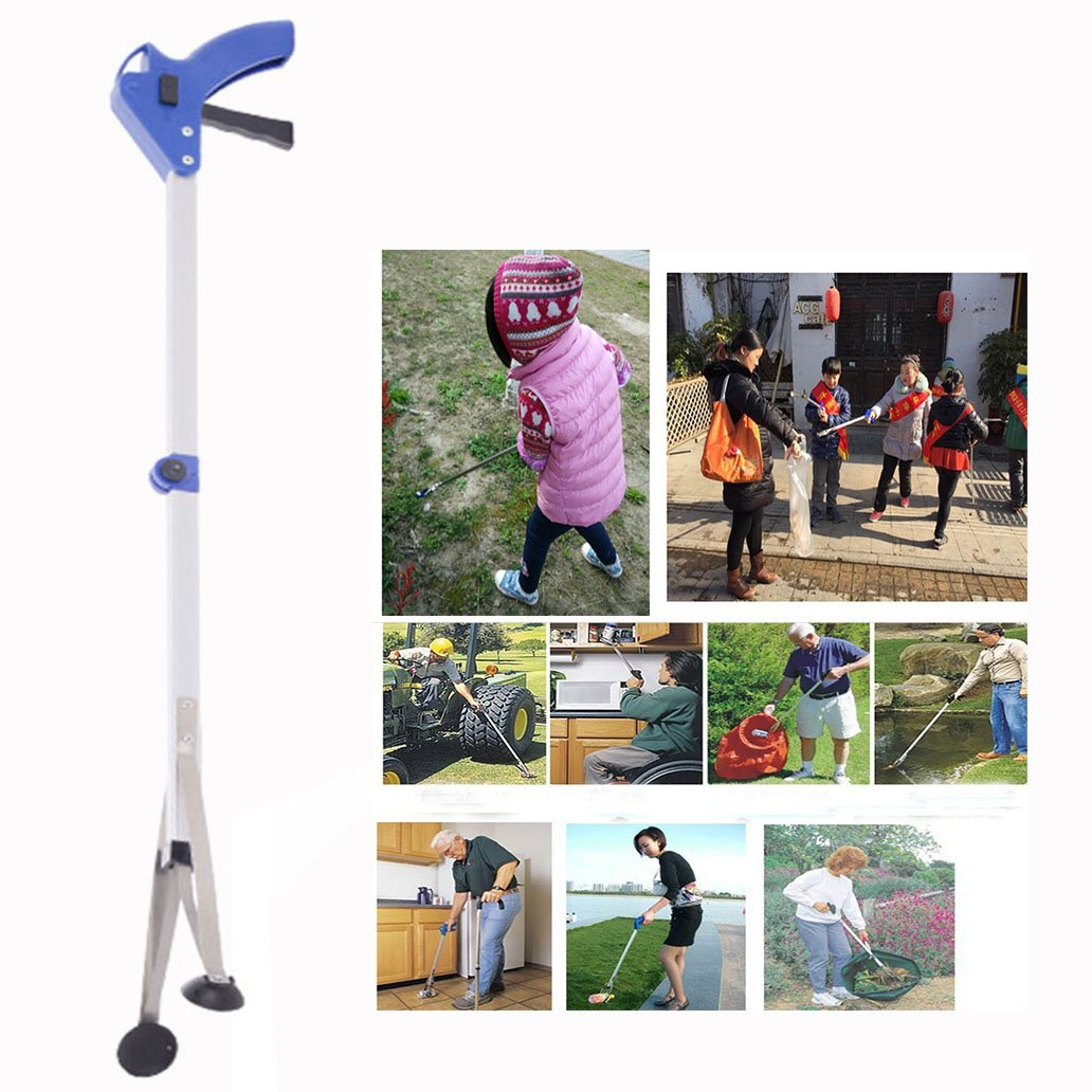 Cisixin Folding Aluminum Telescopic Pick Up Objects Easy Reach Garbage Gripper Alloy Litter Picker 81 cm 32 inches