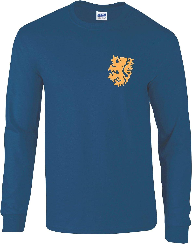 Retro Dutch Holland Netherlands Long-Sleeved Football Shirt 60s 70s Style Navy