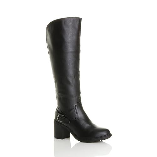 3e0fe2e15ba45 Ajvani Womens ladies block high heel wide calf zip stretch biker knee boots  size 3 36