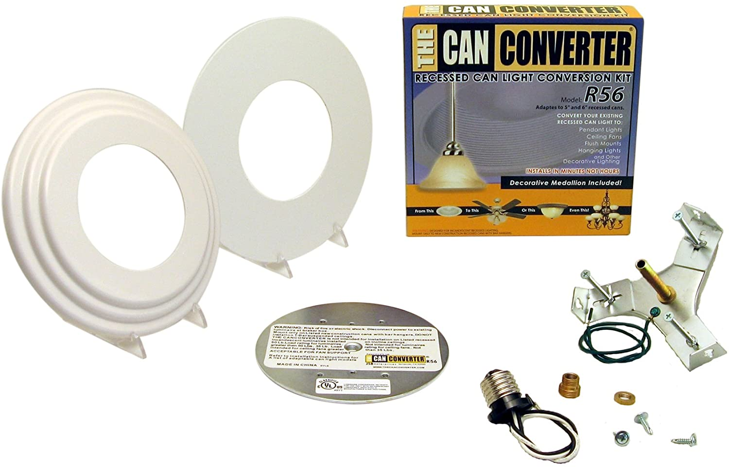 The Can Converter Light Recessed Beveled Flat Canopy Converter R56 Whtfb Conversion Kit For 5 And 6 Cans Directional Spotlight Ceiling Fixtures Amazon Com