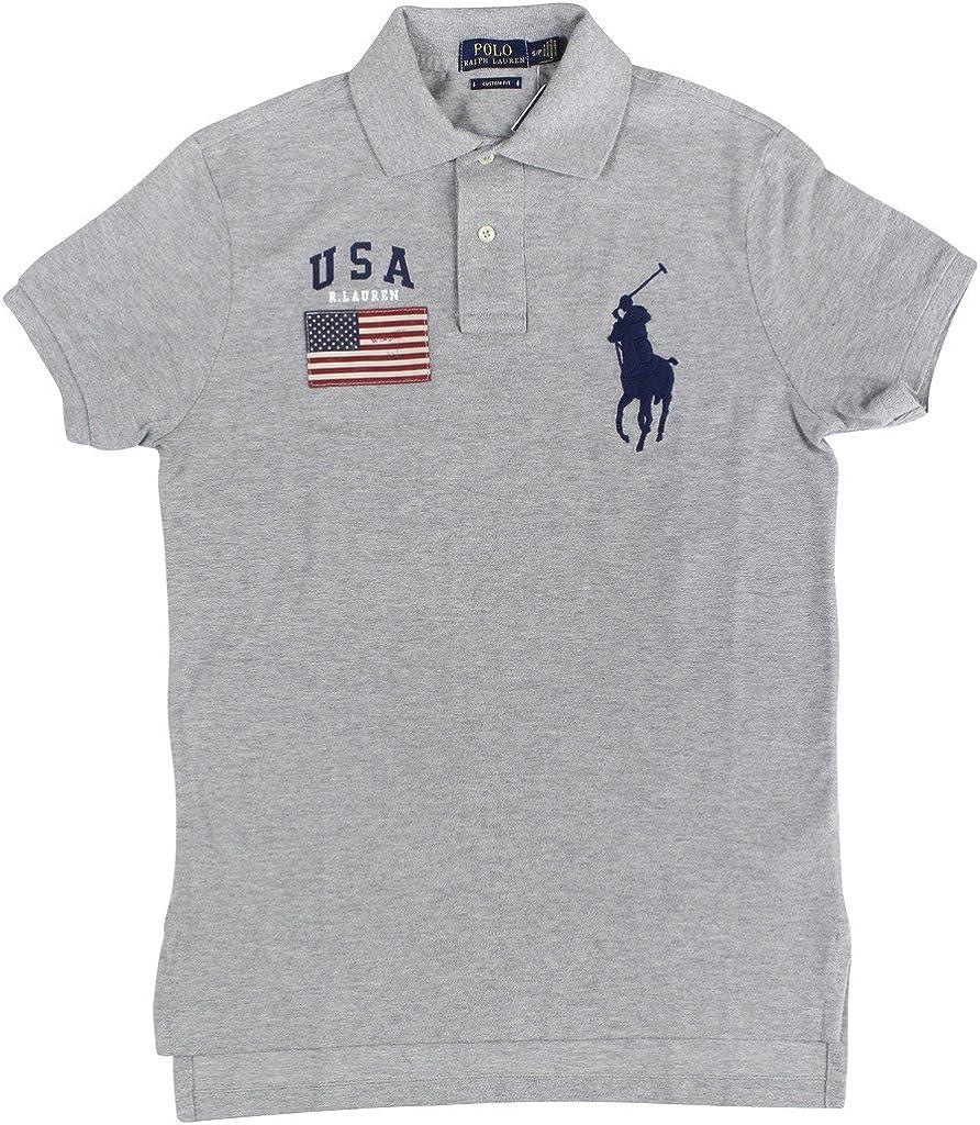 Ralph Lauren Men Custom Fit Short Sleeve USA Flag Polo Shirt