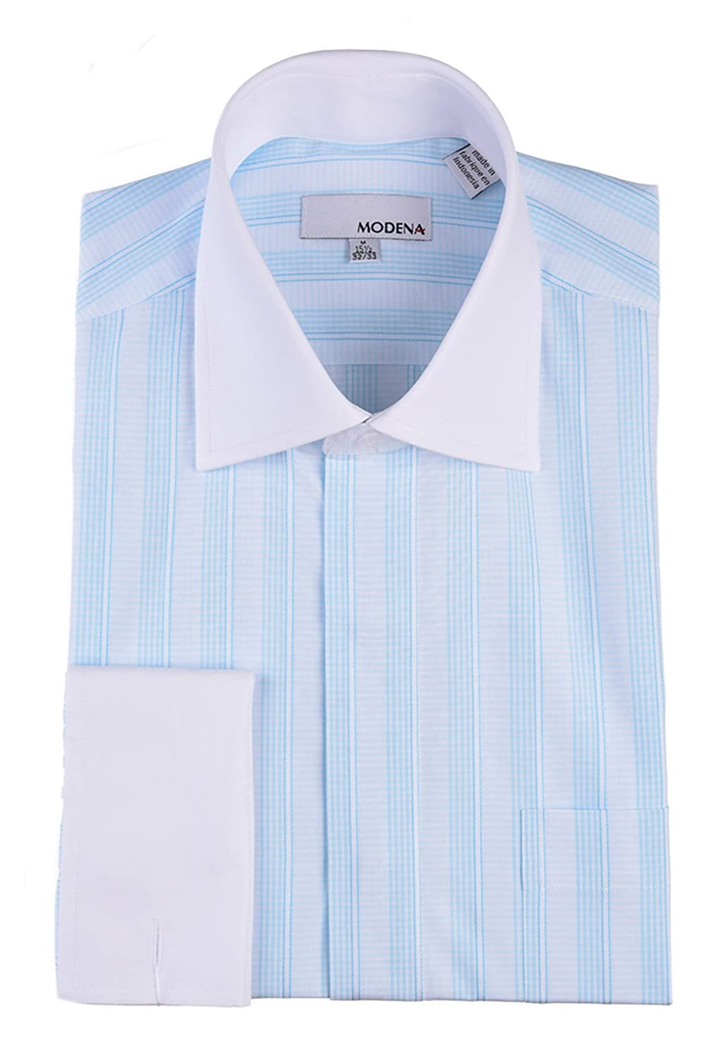 Modena Mens Light Blue Striped with White Contrast Collar   French Cuff Dress  Shirt at Amazon Men s Clothing store  a73f76dd4