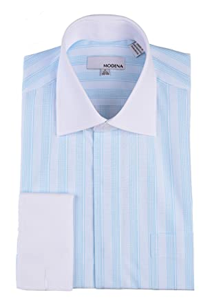 979bbc2eed1 Modena Mens Light Blue Striped White Contrast Collar   French Cuff Dress  Shirt