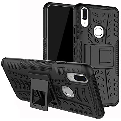 buy popular 78817 c9148 DMG Vivo V9 Pro Back Cover, Shockproof Armor Kickstand Case Hard Back Cover  for Vivo V9 Pro (Black Mesh)