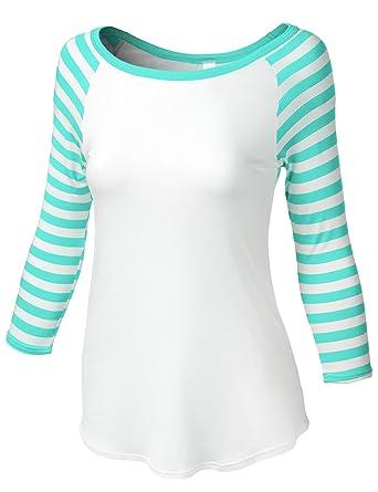 6e157466 Luna Flower Women's Three Quarter Striped Pattern Sleeve Boat Neck Raglan  Shirt Mint Small (CTEW021