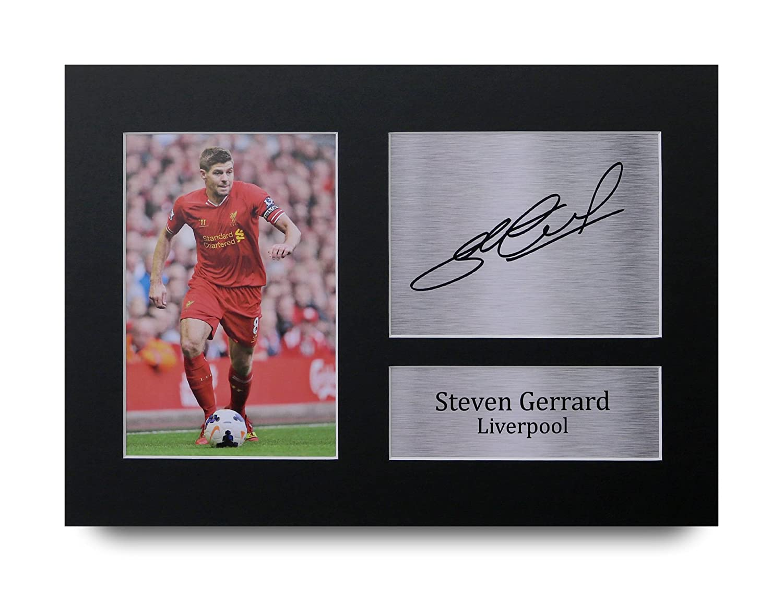 HWC Trading Steven Gerrard Geschenke Unterzeichneten A4 Gedrucktes Autogramm Liverpool Druck-Foto-Bilderanzeige