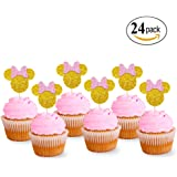 Levfla Glitter Minnie Mouse Inspired Cupcake Toppers Girls Birthday Party Decorations Pack of 24