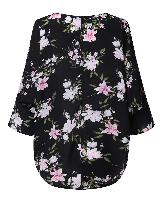ZANZEA kvinnor fladdermus toppar lös solid oregelbunden kortärmad baggy t-shirt avslappnad tunika blus pullover jumper Y-floral Black 2