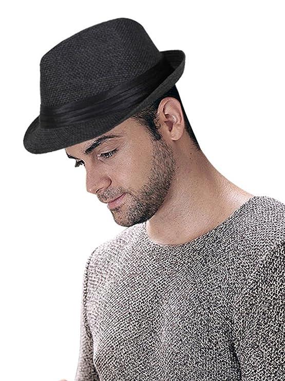 Lullaby Mens Womens Short Brim Structured Straw Fedora Hat Summer Sun Hat