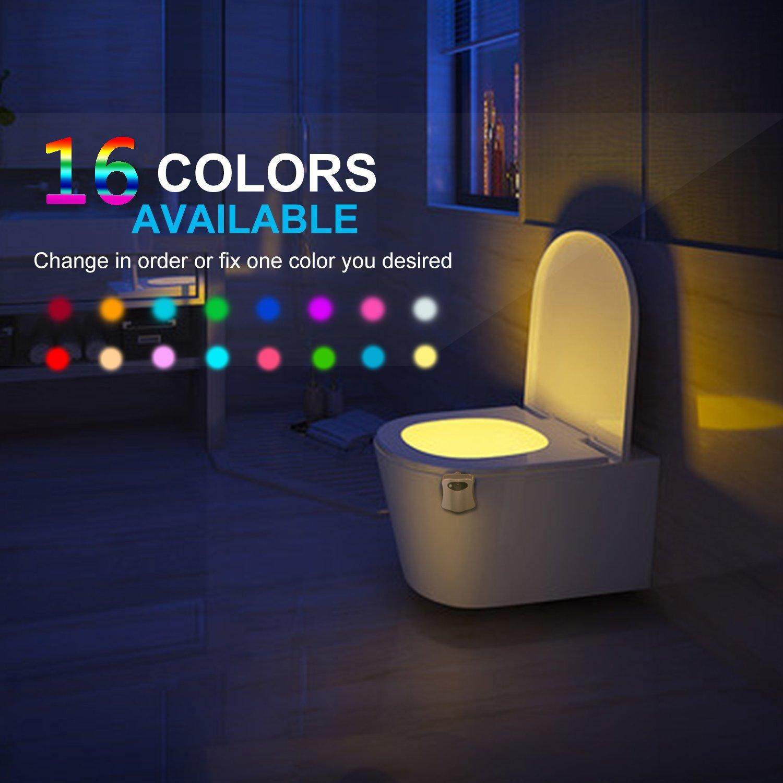 トイレ夜ライトAdvanced 16色Motion Activatedトイレ夜ライトモーションセンサー、LEDトイレシートNightlight、トイレボウルライト、スプラッシュプルーフキッズ用妊婦用古いPeople inバスルーム B077ZXJLW3 14069