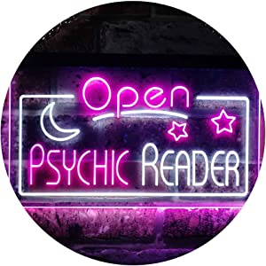 ADVPRO Psychic Reader Open Moon Star Room Décor Dual Color LED Neon Sign White & Purple 12