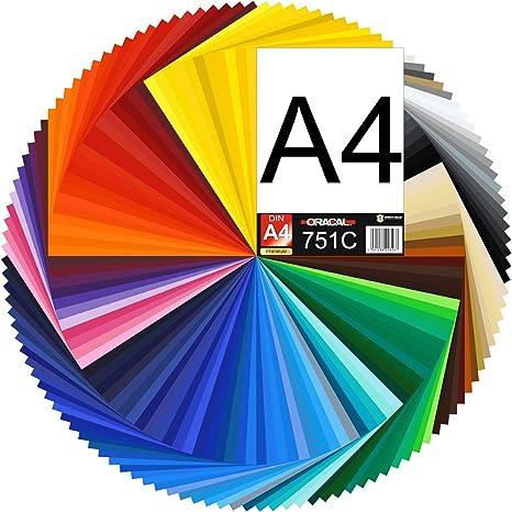 Finest Folia 15,87/€//m2 DIN A4 Foglio 30 x 21 cm ORACAL 751C Pellicola per Plotter Vinile Autoadesivo