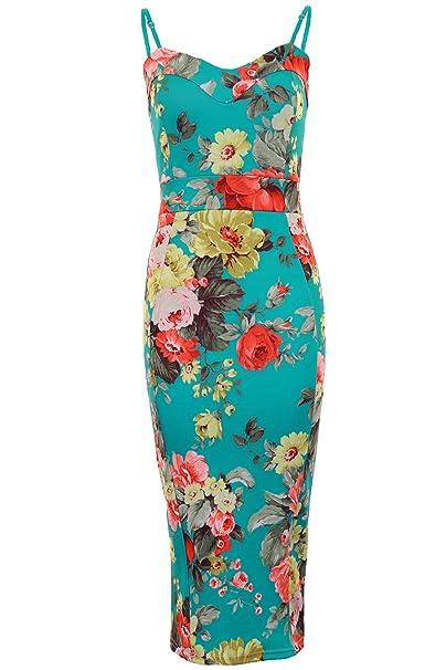 Fantasia Boutique - Vestido ajustado para mujer, largo por la rodilla, tirantes, dise&ntilde