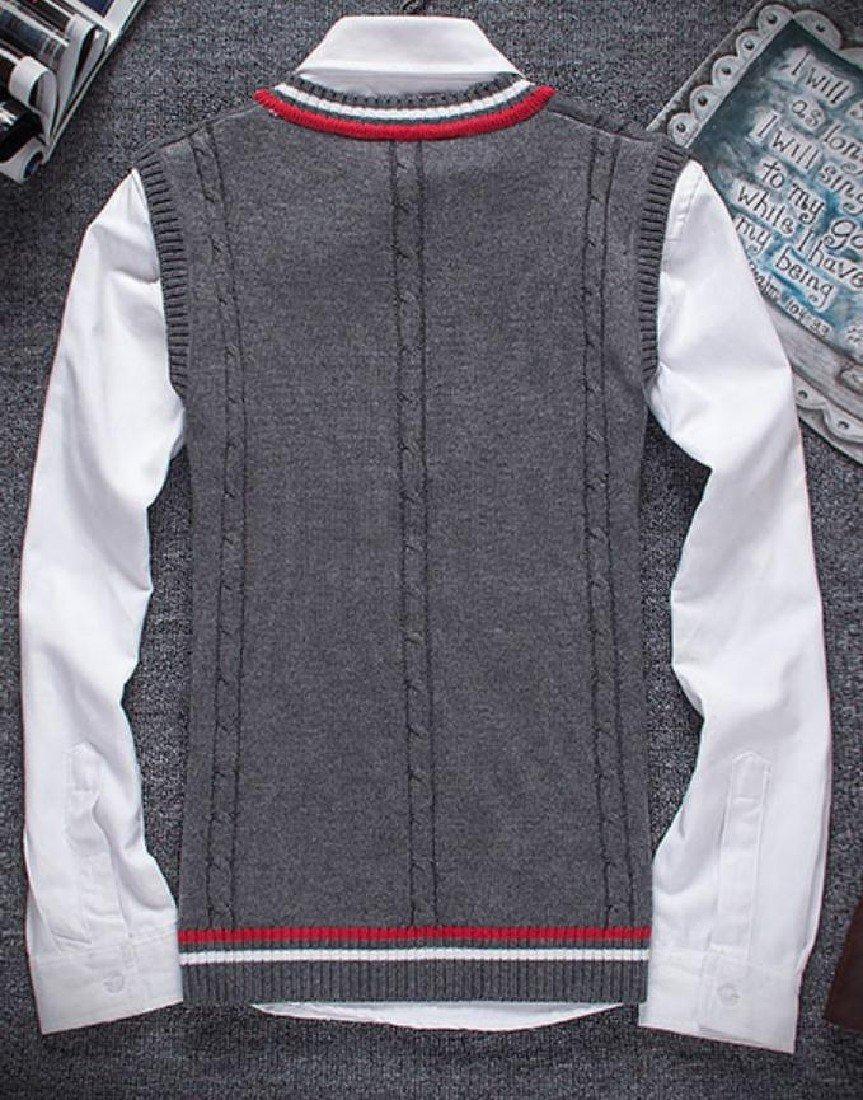 Doufine Mens Pullover Knitted Slim V-Neck Sleeveless Sweater Vest Dark Grey S by DoufineMen (Image #2)