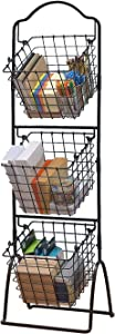 FixtureDisplays 3-Tier Metal Market Basket Display Rack for Stores, Offices, Home Use Black 16787