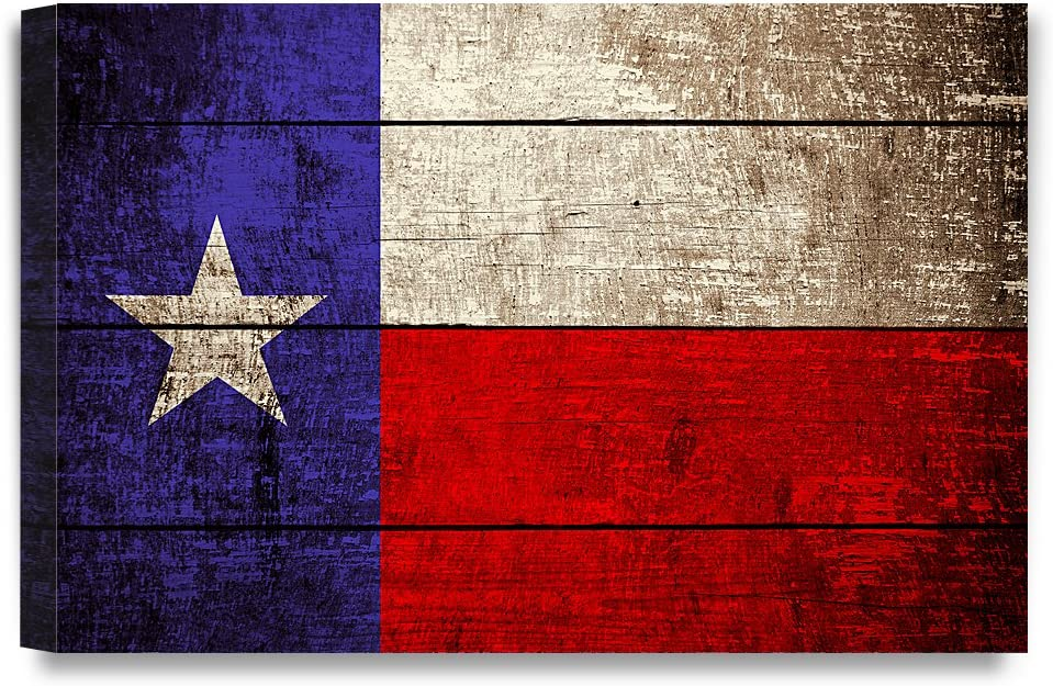 DECORARTS - Texas State Flag. Giclee Print on 100% Archival Cotton Canvas, Canvas Wall Art for Wall Decor 36x24