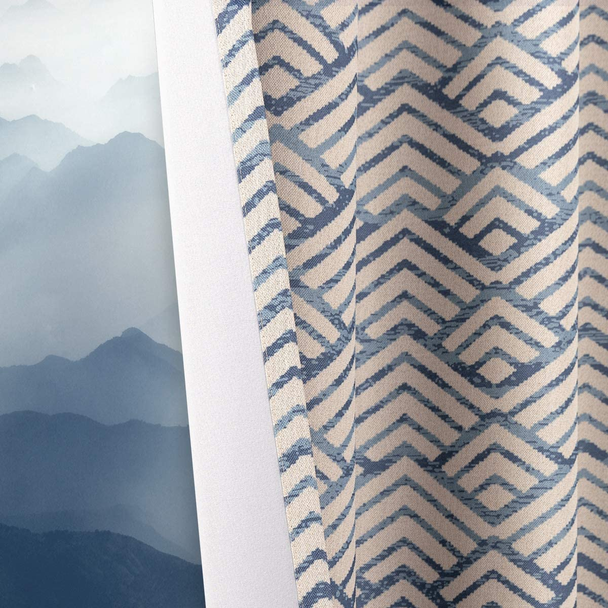 Topick Hill Printed Curtains for Bedroom Drapes Linen Textured Curtain Panels Window Treatments Room Darkening for Living Room 2 Panels 63 Inches Long Blue