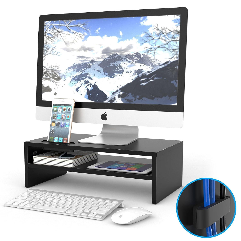 1homefurnit Universal Wood Monitor Stands Speaker TV PC Laptop Computer Screen Riser Desk Organizer 16.7 inch with Shelf Black
